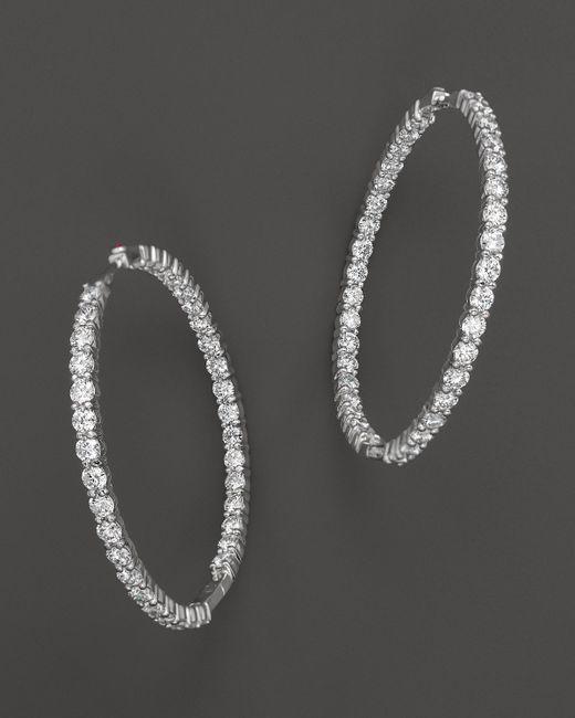 Roberto Coin | 18k White Gold Large Diamond Inside Out Hoop Earrings | Lyst