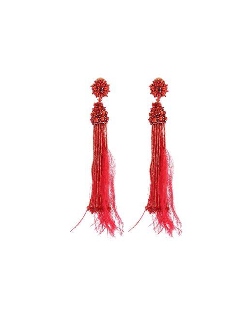 Oscar de la Renta | Metallic Metal Top Short Silk Tassel Earrings | Lyst