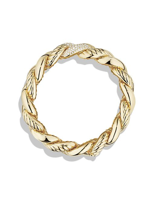 David Yurman | Metallic Bracelet With Diamonds In 18k Gold | Lyst