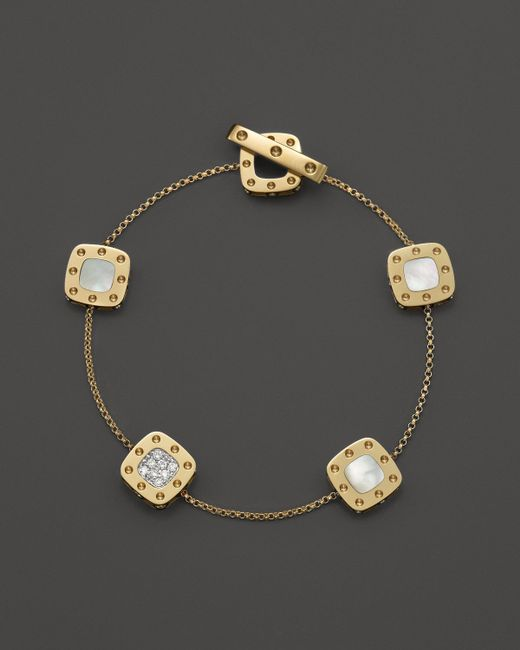 Roberto Coin | Metallic 18k Yellow And White Gold Five Element Pois Moi Bracelet With Mother-of-pearl And Diamonds | Lyst