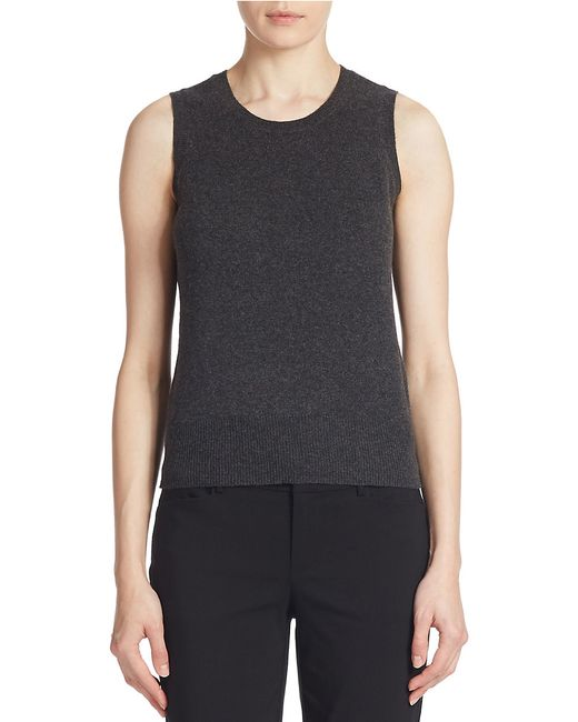 Lord & Taylor | Gray Cashmere Crewneck Shell | Lyst