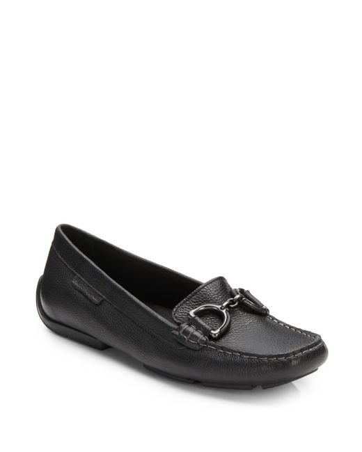 Hush Puppies | Black Cora Leather Loafers | Lyst