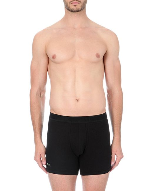 Lacoste | Black Piqué Cotton-blend Boxer Briefs for Men | Lyst