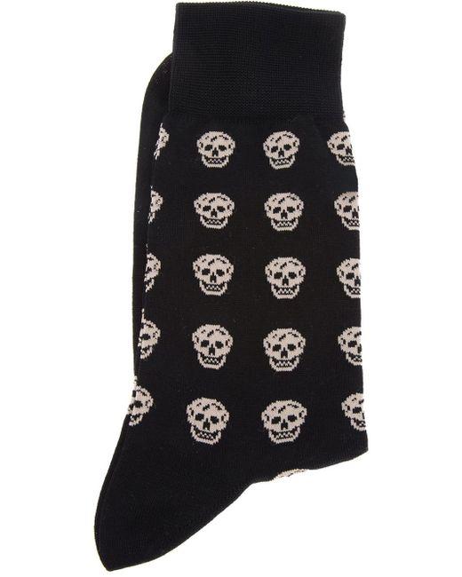 Alexander McQueen   Black Skull-patterned Cotton-blend Socks for Men   Lyst
