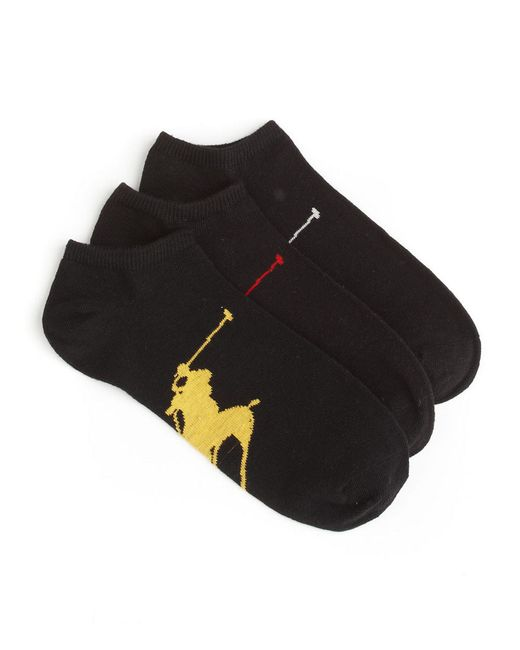 Polo Ralph Lauren | Black Big Polo Athletic Socks/3-pack for Men | Lyst