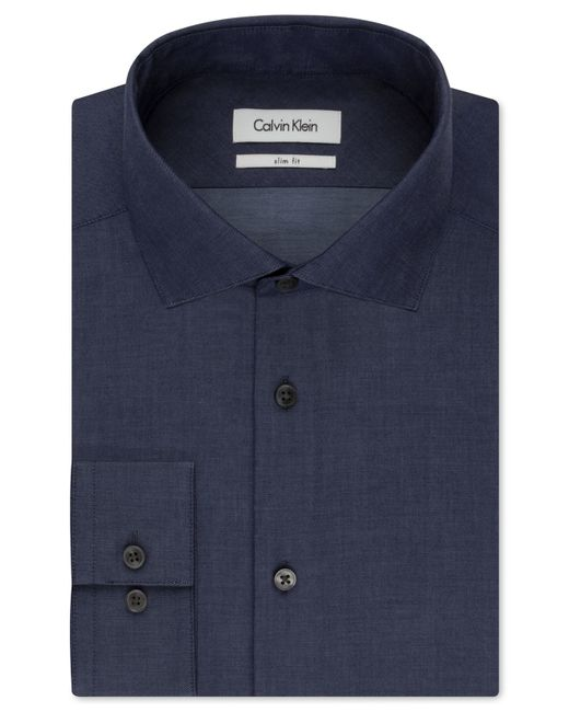 Calvin klein steel slim fit non iron performance indigo for No iron slim fit dress shirts
