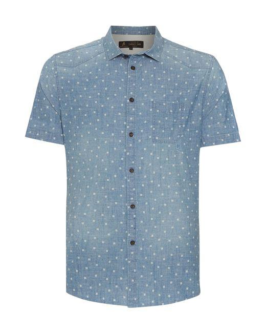 Label lab alamos light wash denim short sleeve shirt in for Light blue short sleeve shirt mens