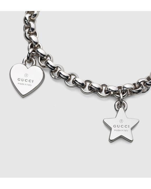 Gucci | Metallic Sterling Silver Charm Bracelet | Lyst
