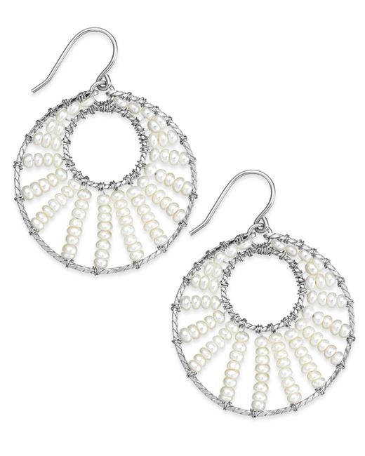 Macy's | Metallic Cultured Freshwater Pearl Circle Drop Earrings In Sterling Silver (3mm) | Lyst