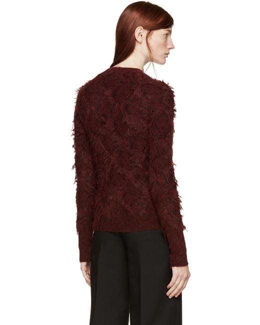 3.1 Phillip Lim | Red Distressed Diamond Knit Sweater | Lyst