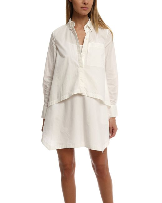 10 crosby derek lam layered shirt dress in white lyst for Derek lam 10 crosby shirt dress