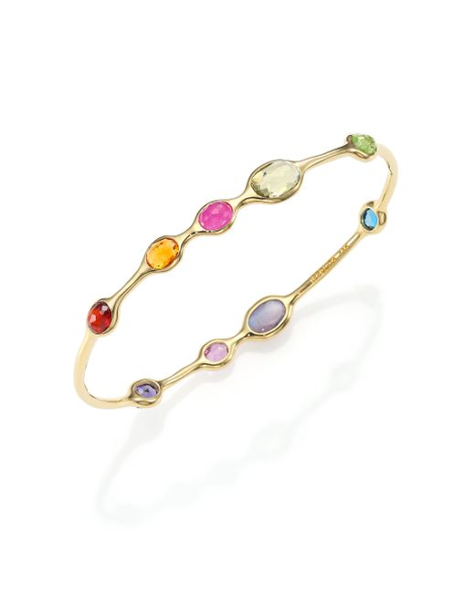 Ippolita | Metallic Gelato Fall Rainbow Semi-precious Multi-stone & 18k Yellow Gold Nine-station Bangle Bracelet | Lyst