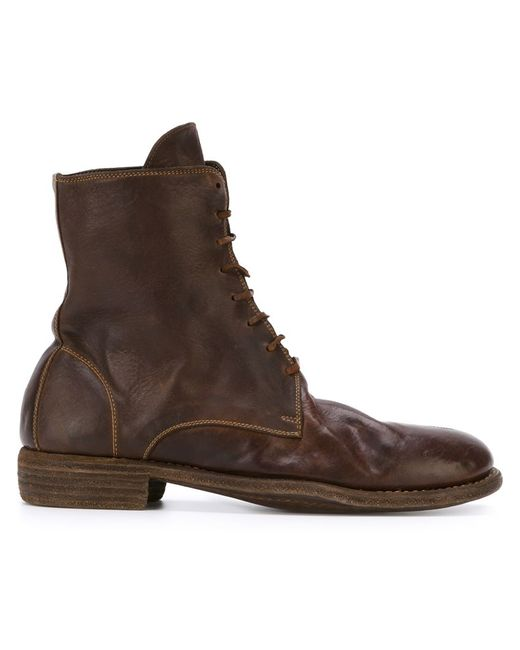 guidi combat boots in brown for lyst