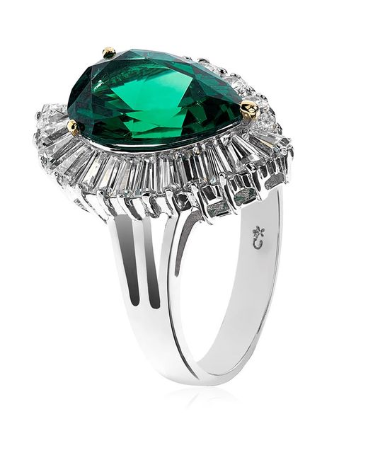 Carat* | Green Emerald Leaf Ring | Lyst