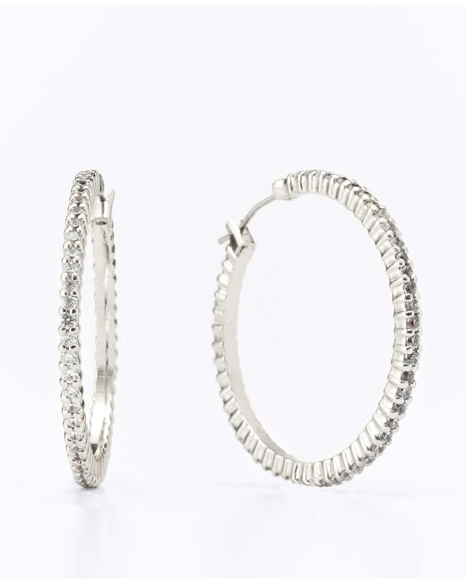 Ann Taylor | Metallic Modern Classic Sparkle Hoops | Lyst