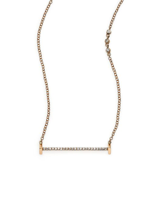 Paige Novick | Metallic Sasha Diamond & 18k Yellow Gold Small Flat Bar Necklace | Lyst