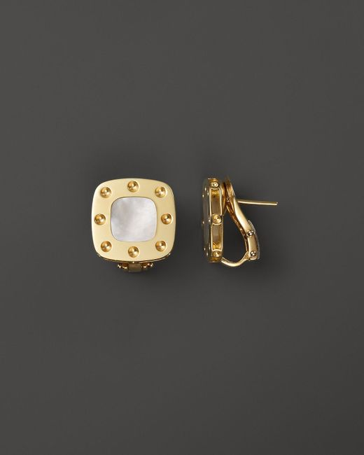 Roberto Coin | Metallic 18k Yellow Gold And Mother-of-pearl Pois Moi Earrings | Lyst