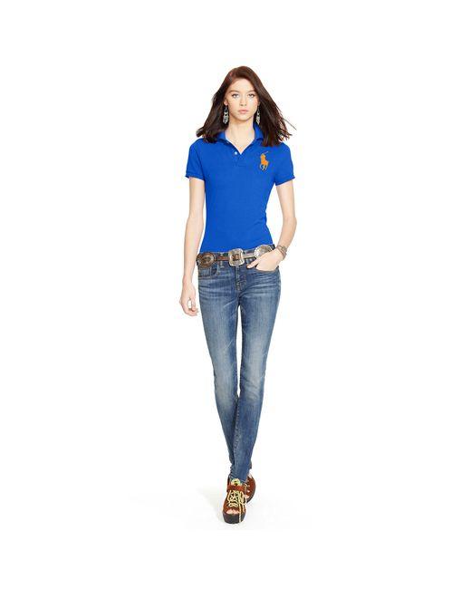 Polo Ralph Lauren   Blue Skinny-fit Big Pony Polo Shirt   Lyst