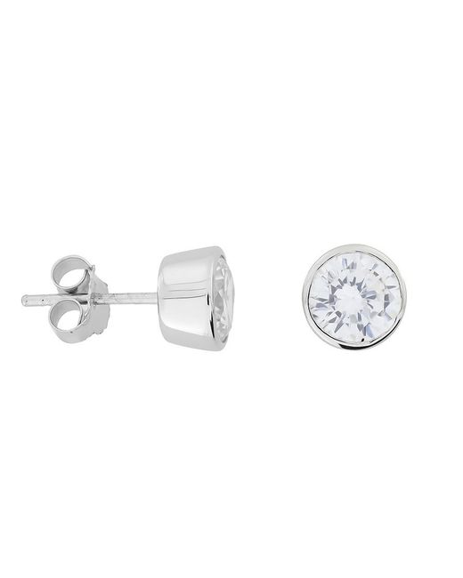 Azendi | White 7mm Sterling Silver Clear Cubic Zirconia Studs | Lyst