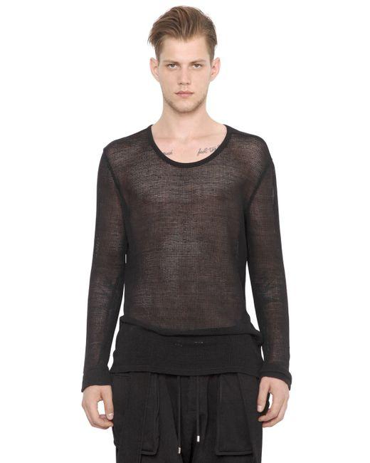 Balmain mesh cotton linen long sleeve t shirt in black for Mesh long sleeve t shirt