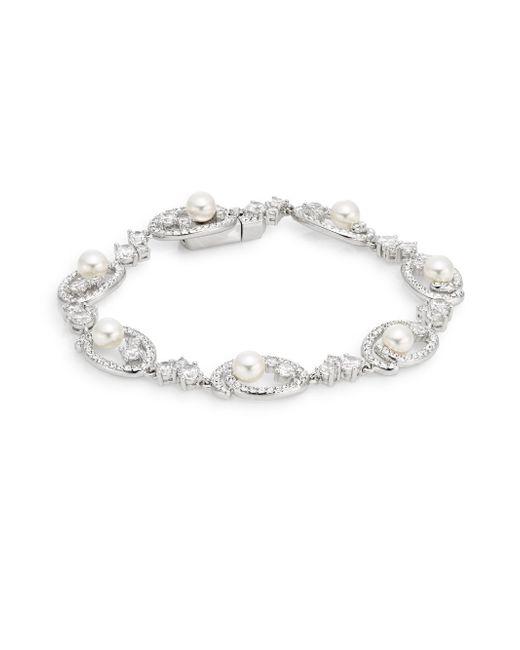 Adriana Orsini | Metallic White Stone Nested Pearl Bracelet | Lyst