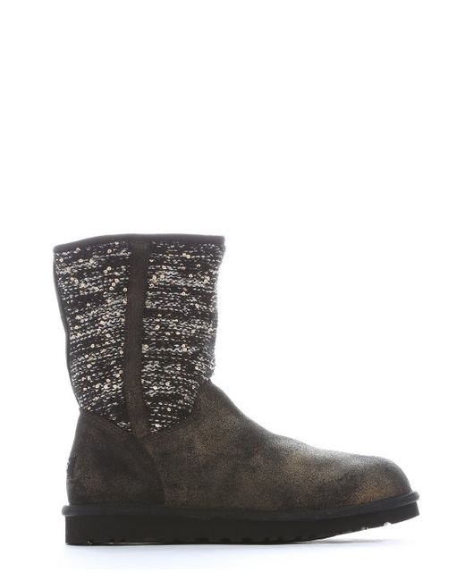 ugg black suede and sequined wool lyla boots in