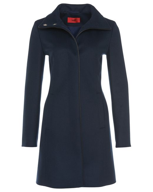 HUGO | Blue Coat In A New-wool Blend With Cashmere: 'maluba' | Lyst