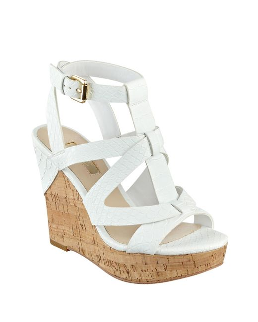 Guess White Wedge Shoes