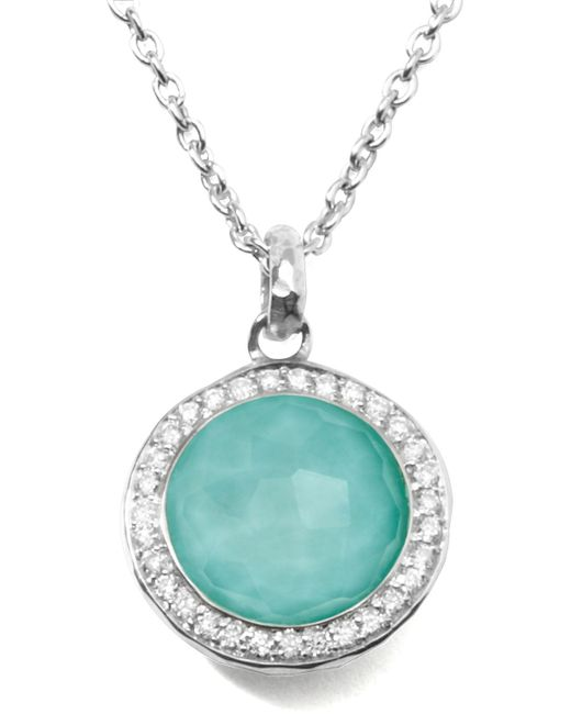Ippolita | Metallic Stella Lollipop Pendant Necklace In Turquoise Doublet With Diamonds | Lyst