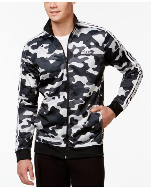 Adidas Men S Camo Print Track Jacket In Gray For Men Grey