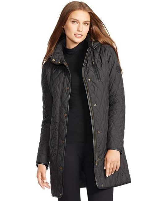 Lauren by Ralph Lauren | Black Faux Leather Trim Quilted Coat | Lyst