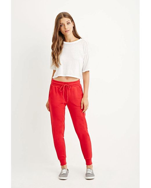 Forever 21 | Red Drawstring Cotton-blend Sweatpants | Lyst