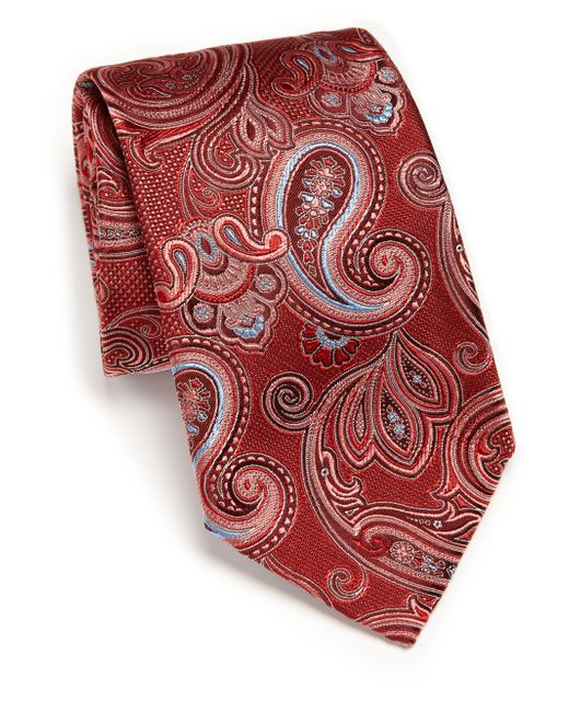 Ike Behar | Red Medallion Paisley Silk Tie for Men | Lyst