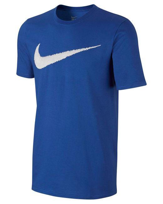 Nike Men 39 S Hangtag Swoosh T Shirt In Blue For Men Royal