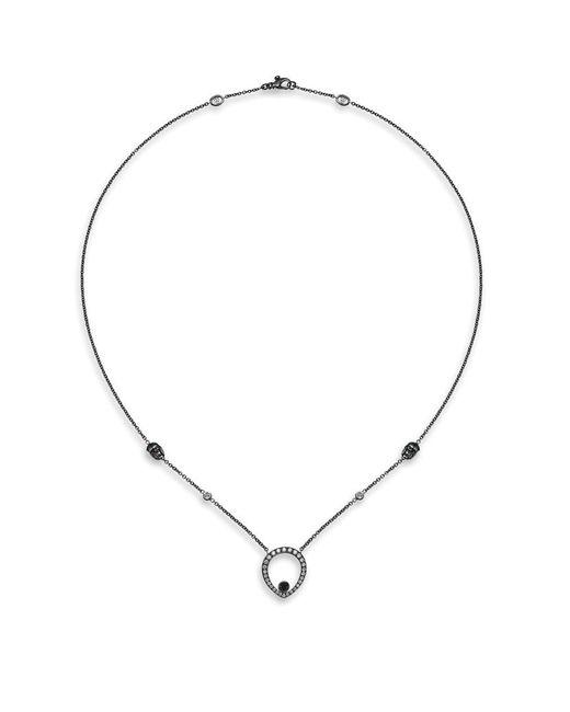 Theo Fennell | Metallic Black Diamond Skull Necklace | Lyst
