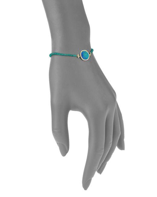 Meira T | Metallic Opal, Emerald, Diamond & 14k Yellow Gold Beaded Bracelet | Lyst