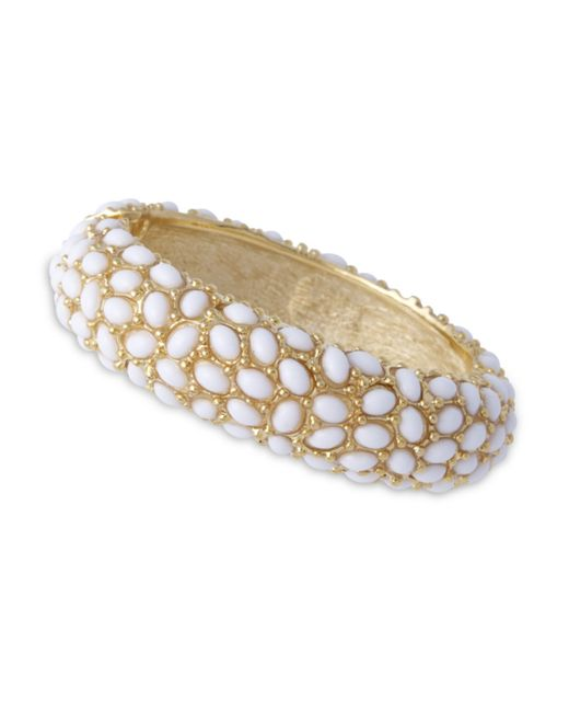 Kenneth Jay Lane | Metallic White Cabochon Bracelet | Lyst