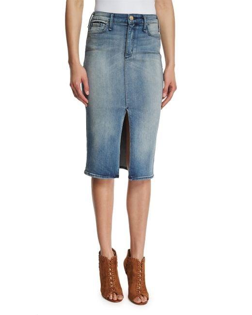 mcguire marino denim pencil skirt in gray medium blue
