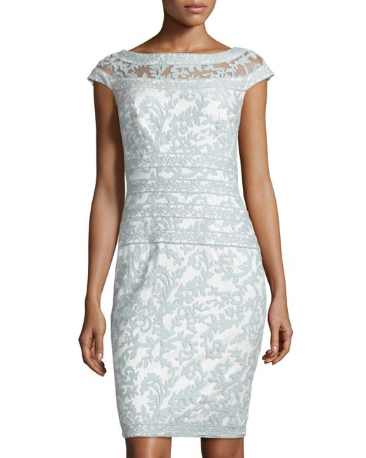 Tadashi Shoji | Blue Filigree Embroidered Lace Cocktail Dress | Lyst