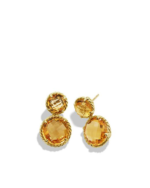 David Yurman | Yellow Chatelaine Mini Double-drop Earrings With Citrine In 18k Gold | Lyst