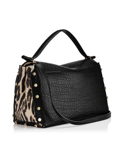 Jimmy Choo | Lockett/m Black Grainy Leather And Snow Leopard Print Pony Handbag | Lyst