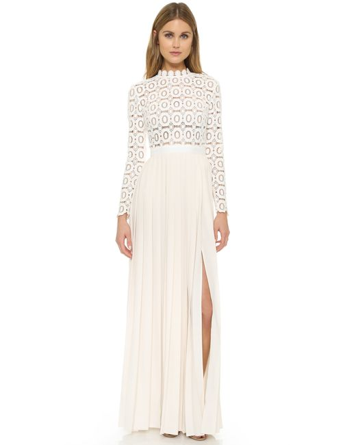 Self-portrait Pleated Crochet Maxi Dress in Beige (Off White) Lyst