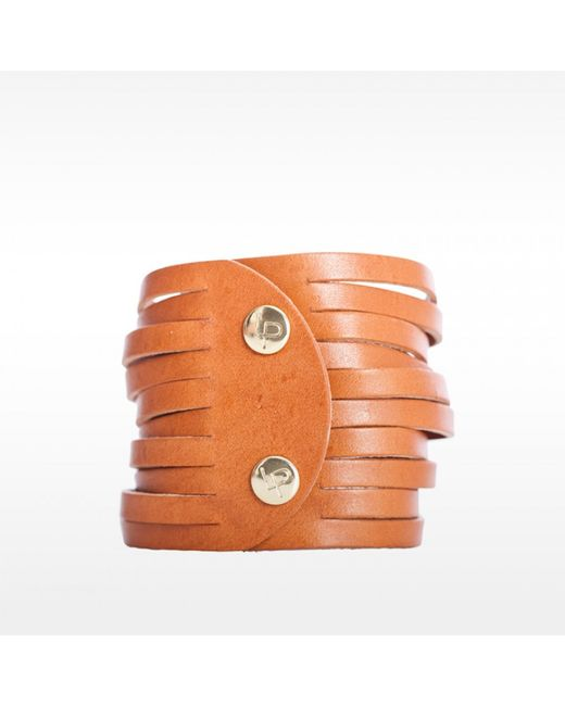 Linea Pelle | Brown Sliced Dome Stud Bracelet | Lyst