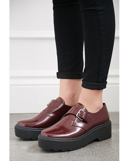 Forever 21 | Purple Lug-sole Monk Strap Loafers | Lyst