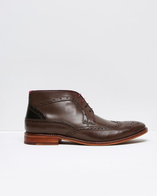ted baker brogue detail leather ankle boots in brown for