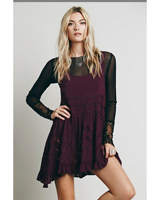 free people voile lace trapeze slip in purple. Black Bedroom Furniture Sets. Home Design Ideas