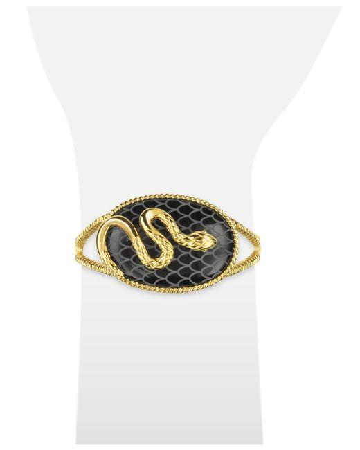 Just Cavalli | Black Amazonia Gold Plated Bangle Bracelet | Lyst