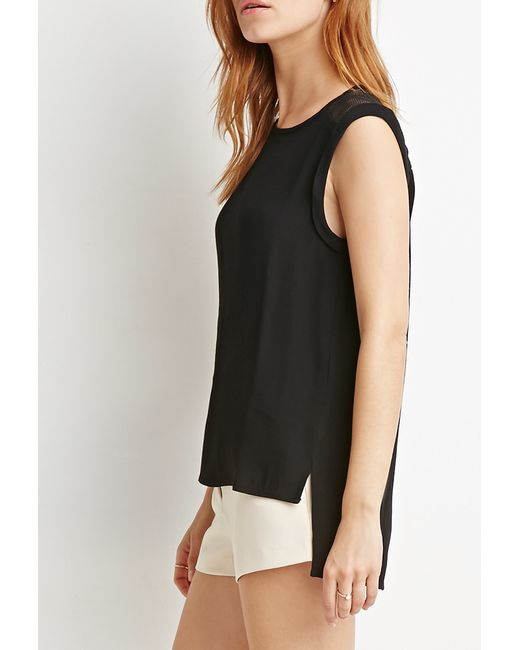 Forever 21   Black Contemporary Netted Mesh-paneled Top   Lyst