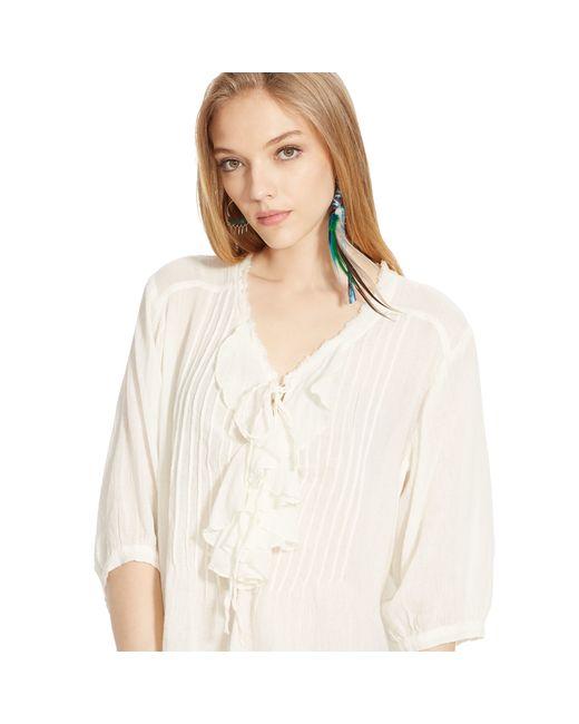 Denim & Supply Ralph Lauren | Natural Ruffled Cotton Blouse | Lyst