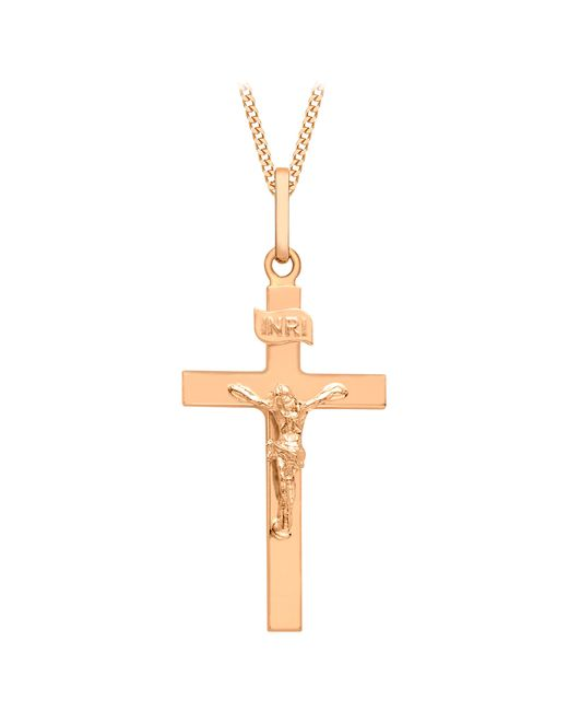 Ib&b   Metallic 9ct Rose Gold Crucifix Pendant   Lyst